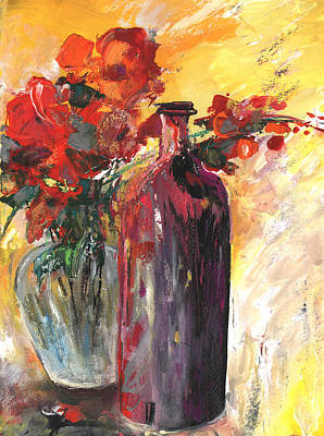 Still Live With Flowers Vase And Black Bottle Poster by Miki De Goodaboom