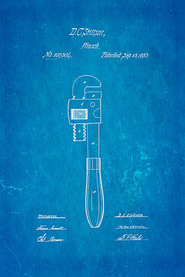 Stillson Wrench Patent Art 1870 Blueprint Poster by Ian Monk