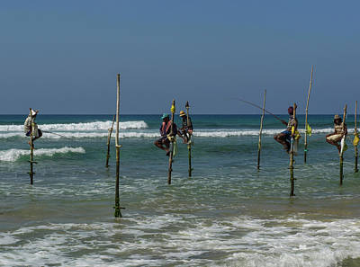 Stilt Fishermen On Beach, Galle Poster