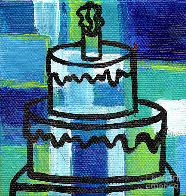 Stl250 Birthday Cake Blue And Green Small Abstract Poster by Genevieve Esson