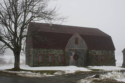 Stone Barn In Winter 1 Poster