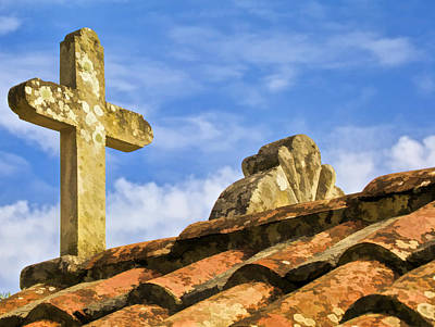 Stone Carved Weathered Cross Poster by David Letts