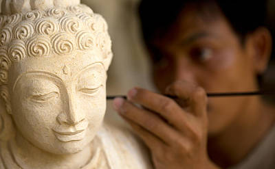 Poster featuring the photograph Stone Carver - Bali by Matthew Onheiber