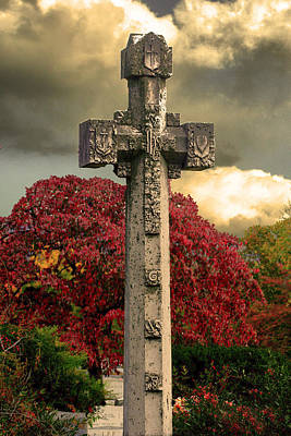Poster featuring the photograph Stone Cross In Fall Garden by Lesa Fine