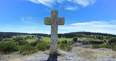 Stone Cross In Margeride. Haute Loire. France Poster by Bernard Jaubert