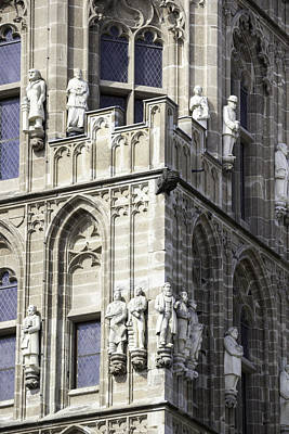 Stone Figures On Tower Of Rathaus Cologne Germany Poster by Teresa Mucha