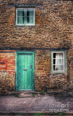 Stone House With Green Door Poster by Jill Battaglia