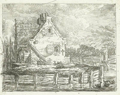 Stone House With Yard On The Waterfront, Albertus Brondgeest Poster