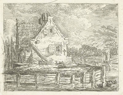 Stone House With Yard Surrounded By Water Poster