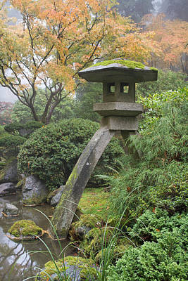 Poster featuring the photograph Stone Lantern In Japanese Garden by JPLDesigns