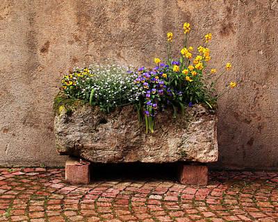 Stone Planter In Kaysersberg France Poster