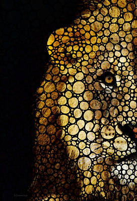 Stone Rock'd Lion - Sharon Cummings Poster by Sharon Cummings