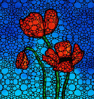 Stone Rock'd Poppies By Sharon Cummings Poster by Sharon Cummings