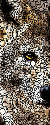 Stone Rock'd Wolf Art By Sharon Cummings Poster by Sharon Cummings