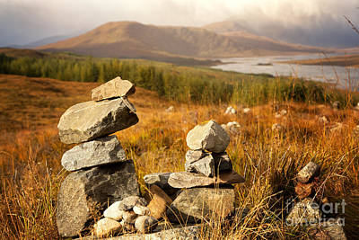 Stone Stacks In The Highlands Poster by Jane Rix