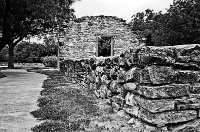 Poster featuring the photograph Stone Wall At Mission Espada by Andy Crawford