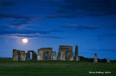 Poster featuring the painting Stonehenge At Night by Bruce Nutting