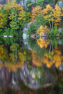 Stonehouse Pond Fall Reflections Poster by Jeff Sinon
