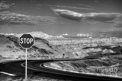 Stop At The Badlands Bw Poster by Mel Steinhauer