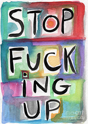 Stop Poster by Linda Woods