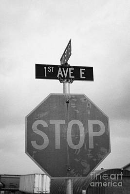 stop sign at junction of first street and first avenue on a cold grey day assiniboia Saskatchewan Ca Poster