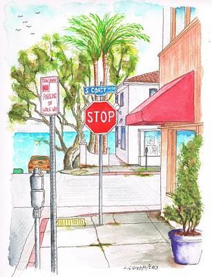 Stop Sign In Laguna Beach - California Poster by Carlos G Groppa