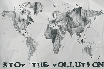 Stop The Pollution World Map Smoke Poster by Eti Reid