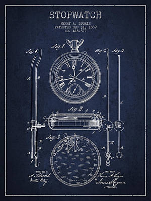 Stopwatch Patent Drawing From 1889 Poster