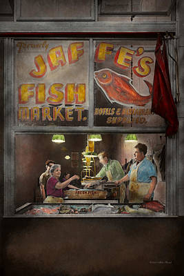 Store - Fish Ny - Jaffe's Fish Market Poster by Mike Savad