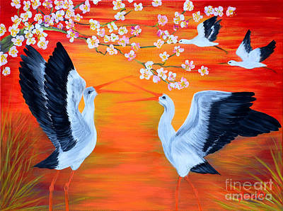 Storks And Cherry Blossom Poster