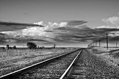 Storm Cloud Above Rail Road Tracks Poster