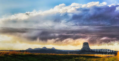 Storm Clouds Over Devils Tower Poster