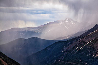 Storm Near Longs Peak Poster by Adam Pender