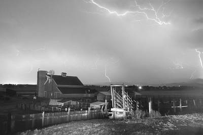 Storm On The Farm In Black And White Poster by James BO  Insogna