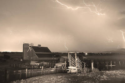 Storm On The Farm In Black And White Sepia Poster by James BO  Insogna