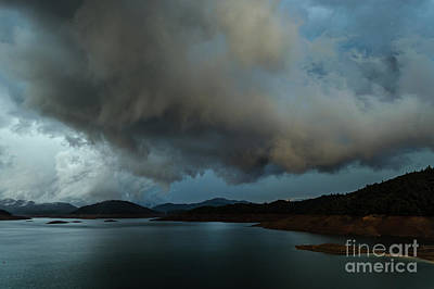 Storm Over Lake Shasta Poster by Along The Trail