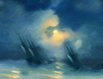 Storm Over Rough Seas Abstract Realism Poster by Georgiana Romanovna
