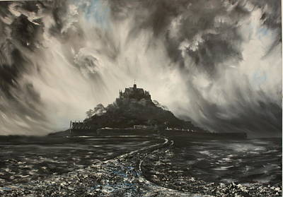 Poster featuring the painting Storm Over St Michaels Mount Cornwall by Jean Walker