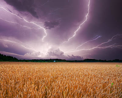 Storm Over Wheat Poster