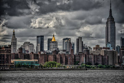 Poster featuring the photograph Storm Weather Over Nyc by Linda Karlin