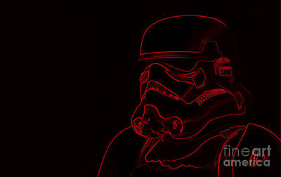 Poster featuring the digital art Stormtrooper In Red by Chris Thomas