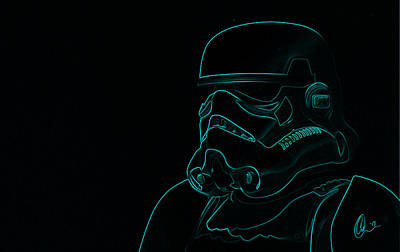 Poster featuring the digital art Stormtrooper In Teal by Chris Thomas