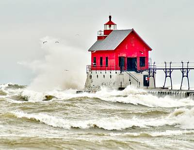Stormy At Grand Haven Light Poster by Nick Zelinsky
