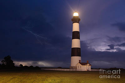 Stormy Bodie Lighthouse Outer Banks I Poster by Dan Carmichael