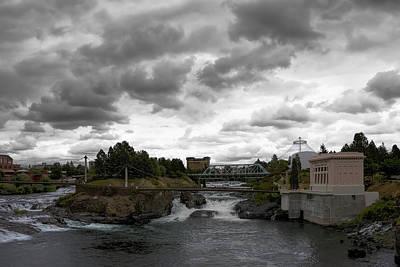 Stormy Falls Of Spokane Poster