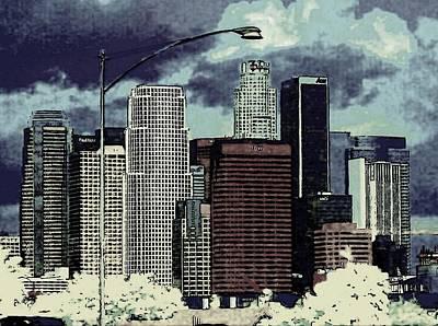 Poster featuring the photograph stormy Los Angeles from the freeway by Jodie Marie Anne Richardson Traugott          aka jm-ART