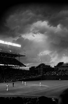Stormy Night At Wrigley Field Poster