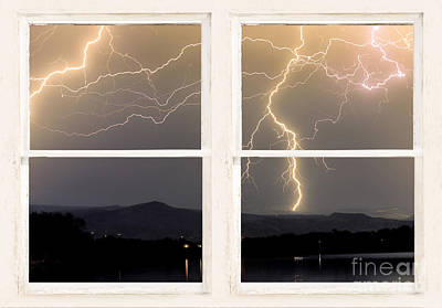 Stormy Night Window View Poster