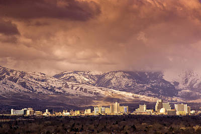 Stormy Reno Sunrise Poster by Janis Knight