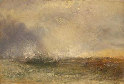 Stormy Sea Breaking On A Shore Poster by JMW Turner